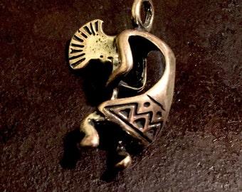 Kokopelli made from silver alloy, kokopelli pendent, Kokopelli jewelry, silver kokopelli pendent, native flute pendent, fertility charm