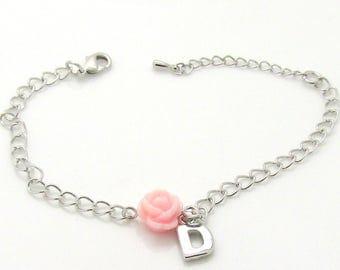 Personalized flower girl bracelet • flower girl gift •  flower girl jewelry •  children's bracelet • children's silver initial bracelet kids