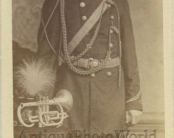 Mustached military man with trumpet antique CDV photo
