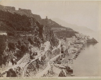 Convento dei Cappuccini panorama Amalfi antique albumen photo Brogi Italy