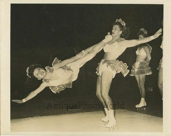 Women roller skaters performers vintage circus photo