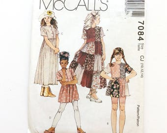 McCall's 7084, Girls' Dresses and Top Pattern, Size 10, 12, 14, Vintage Uncut Pattern
