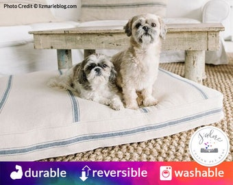 French Country Rectangle Dog Bed | Heavyweight Grain Sack Material | Washable, Durable, Beautiful! | Choose Your Color
