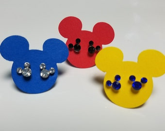 Mickey Earrings - Tiny Crystal Mickey Earrings with Mickey shaped Cardstock card - Disney Cruise Fish Extender Gift - FE Gift
