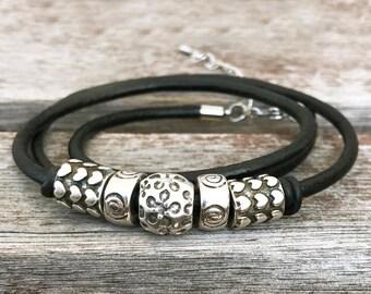 Leather Wrap Bracelet Beaded Wrap Bracelet Boho Jewelry Wrap Boho Bracelet Wrap Leather Bracelet Beaded Bracelet Beaded Silver Bracelet
