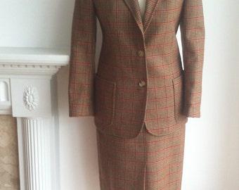 Vintage 70s /80s CELINE Houndstooth Check Wool  SUIT - Fr38/UK8-10/US4-6
