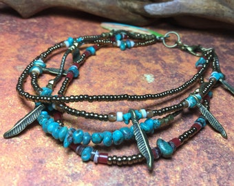 Turquoise, Feathered bohemian Anklet