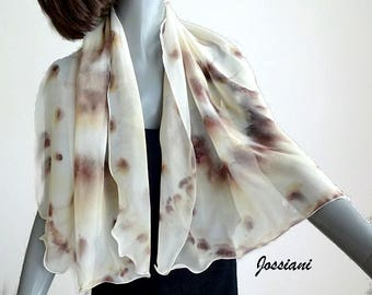 Hand Painted Silk Scarf Earth Tones Beige Brown cream Ivory Background, Small Petite Coverup, Unique Handmade, One of a Kind by Jossiani,
