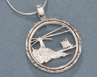 "Sterling Silver Lighthouse Pendant, Hand Cut Maine State Quarter Lighthouse Coin, Lighthouse Jewelry, 1"" in Diameter, ( # 779S )"