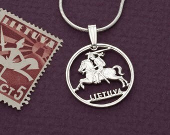 "Sterling Silver Lithuanian Coin Pendant, Hand Cut Lithuanian Coin Jewelry, Lithuanian Coin Jewelry, 3/4"" in Diameter, ( # 227S )"