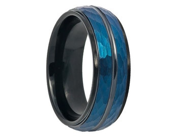 Tungsten Wedding Band,8mm, Prussian Blue Wedding Band,Blue Tungsten Ring,Engraving,Anniversary,Brushed,Size,Mens Ring,Mans,Rings,Set