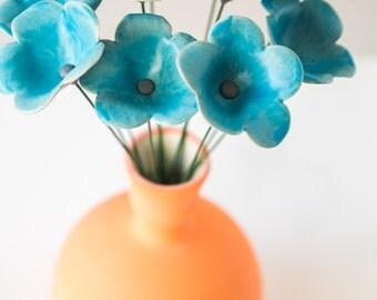 Bouquet of 11 Baby Blue Ceramic Petal Flowers, Spring Arrangement, Orange Vase Set, Easter Decoration, Passover Table, Mother's Day Gift