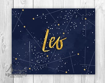 Leo Constellation, Leo Zodiac Typography Art, Leo Astrology Print, Leo Wall Art, Leo Poster, Leo Astronomy, Leo Art wth Gold Stars