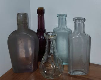 Lot vintage bottles/ old glass bottle collection/ apothecary bottle/ general store/ spell bottles/ colored glass bottles/ collectable glass