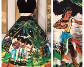 1950s Mexican Circle Skirt by Faldas Kent -- Rare, Hand Painted Señoritas Wearing 3D Peek-A-Boo Skirts in a Larger Size!