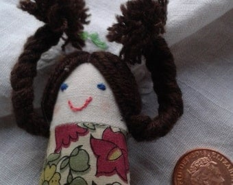 Tiny girl with plaits handmade brooch