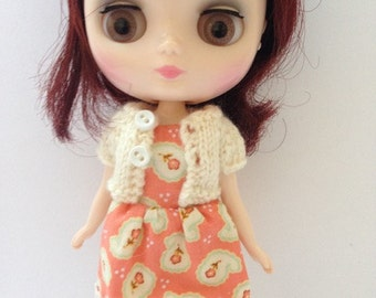 Midde Blythe Tokissi Bunny Doll Apricot Print Dress with Matching Cream Short Sleeve Cardy