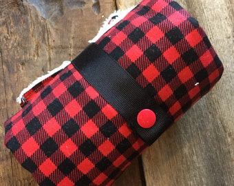 washable changing mat, Changing pad, red and black checkers