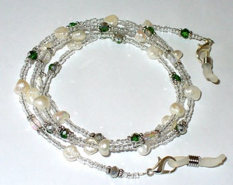 Necklace, freshwater pearl, white, silver, green 76 cm (146)