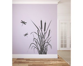 """Dragonfly and Cattails Vinyl Wall Decal Graphics Bedroom Home Decor 32""""x36"""""""