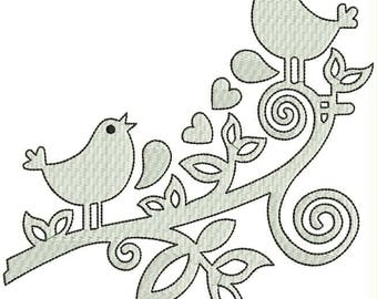 Love Birds Embroidery Design Applique Machine Embroidery Designs