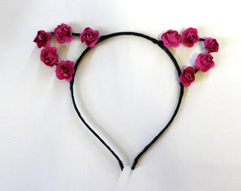 Floral Fuchsia Cat Ears Headband