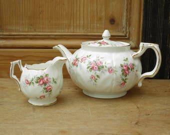 Vintage Aynsley Bone China Teapot and Creamer/ Milk Jug, 1 Pint Teapot, Grotto Rose 185, Made in England,