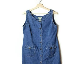 Vintage Denim  Button down Sleeveless Dress from 90's*