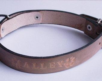 Dog collars with name, 40 cm x 2 cm, handmade