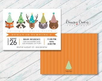 Forest Animals in Birthday Hats Invitation - Woodland Creatures Party Invite - Woods Animals Invite - Kid's Birthday - Digital File