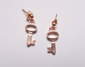 Rose Gold Key Stud Earrings, Rose Gold Filled and Rose Gold Plated, Charm Jewelry