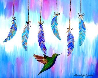 "hummingbird art, hummingbird gift, hummingbird painting, canvas art,canvas painting,paintings of hummingbirds, australian,art, 29.5"" x 23.5"""