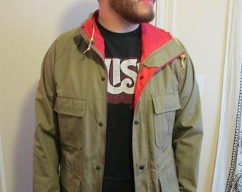 Vintage LIKE NEW CONDITION Coleman Khaki Jacket w/ Red Lining / Coat Brown Jacket / Raincoat