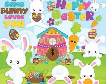 80% OFF SALE Easter clipart commercial use, easter bunny vector graphics, easter digital clip art, digital images  - CL947