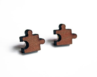 Puzzle earrings, puzzle studs, lasercut puzzle studs, lasercut puzzle earrings, wood puzzle earrings, lasercut wood earrings, mothers day
