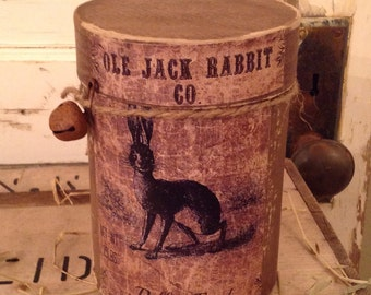 Primitive Ole Jack Rabbit Co Pellet Feed Canister Easter or Year Round Prim Decor