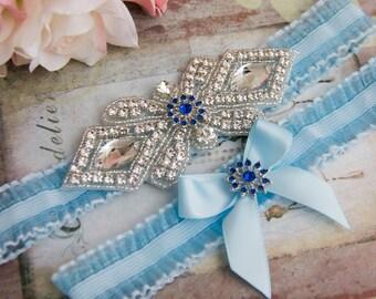 Blue Organza Garter Set, Wedding Garter Set, Bridal garter Set, Rhinestone Garter, Blue Wedding Garter, Something Blue
