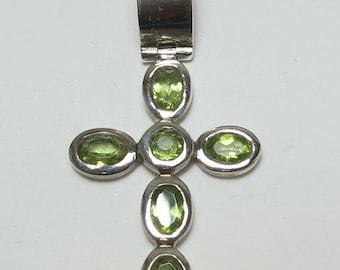 Estate Silver Peridot Pendant (Cross)