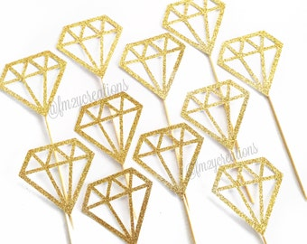 Diamond Cupcake Toppers | Engagement Party Cupcake Toppers | Bridal Shower | Bachelorette Party Shower | Donut Toppers | Wedding Decorations