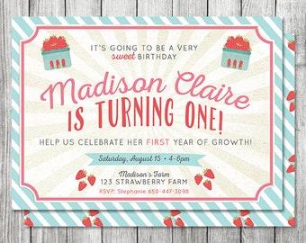 Farmers Market Invitation - Garden Birthday Invitation - Strawberry Invitation - Girls Birthday - 5x7 JPG