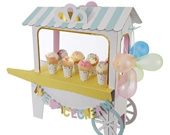 Ice Cream Cart Centerpiece, Ice Cream Social, Pastel Ice Cream Cart, Ice Cream Cone Display, Ice Cream Party, Ice Cream Sundae Display