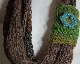 Knit Tube Infinity Scarf  ~ Brown Tweed n Green~ Loop Scarf with Knit Band ~ Loose Knit Infinity Loop Scarf  *~* OOAK Gift for Her