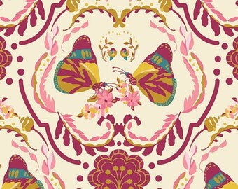 Cotton Fabric Emmy Grace Painted Ladies Kiss by Bari J for Art Gallery Fabrics Pink Butterflies
