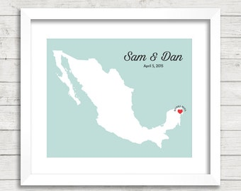 8x10 Mexico Love Map - Riviera Maya, Mexico - Mexican Wedding - Destination Wedding - Beach - Paper Anniversary - Mexican Honeymoon