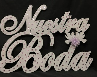 Nuestra Boda Foam Sign Gift Keepsake Decoration