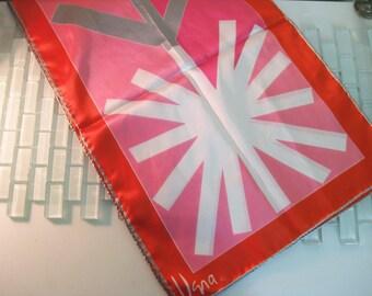 """Pink Orange VERA Mod long scarf JAPAN 44"""" x 14"""""""
