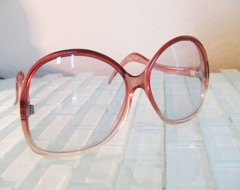 French Mod Sunglasses Rose Ombre Gradient Fade Oversized France