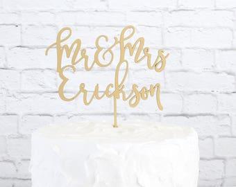Mr and Mrs Cake Topper,  Custom Wedding Cake Topper, Custom Last Name Cake Topper, DIY Cake Topper