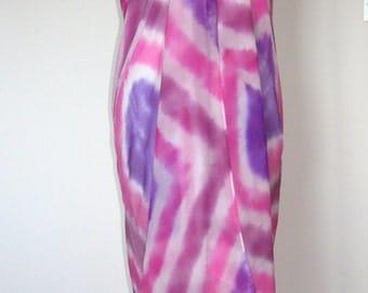 Pure Silk Sarong Shawl Scarf - Silk Chiffon Beach Cover Up - Hand Dyed.
