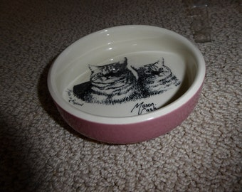 "Vintage Mason Cash Ceramic 5""  CAT DISH Made in England"